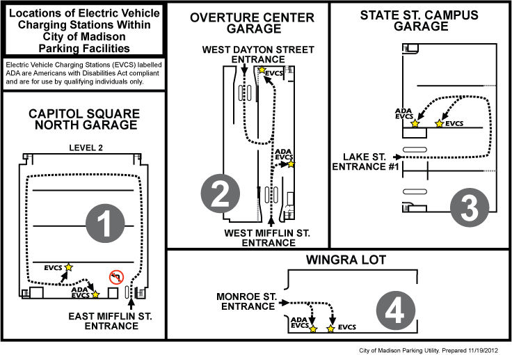 Locations of electric vehicle charging stations within city of Madison parking facilities